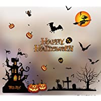 ZZX Halloween Decals Window Stickers Clings Happy Halloween Bat Black Cat Witch Ghosts Pumpkin Window Decal for Trick or…