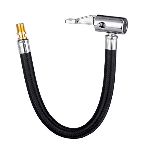 LUMITECO Locking Air Chuck with Air Hose and Standard Tire Valve Fine Thread, Air Inflator Hose Adapter for Twist On Convert to Lock On Connection