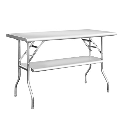 Royal Gourmet Commercial Stainless Steel Double-Shelf Folding Work Table, 48