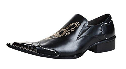 Santimon Chelsea Bout Pointu Western Broderie En Cuir Robe Hommes Chaussures 17-noir