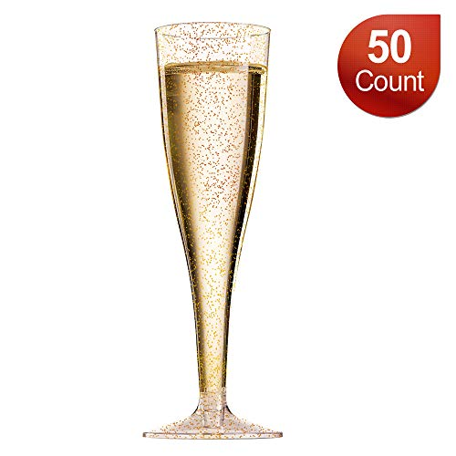 Disposable Champagne Flutes/Plastic Champagne Glasses - 50 Count 5 oz Gold Glitter Plastic Classicware Glass Like Champagne