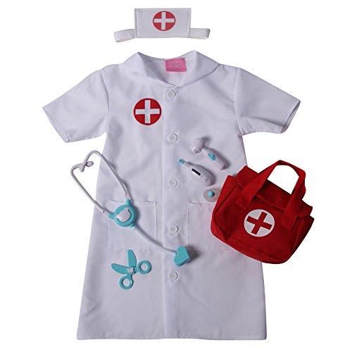 Girls Nurse Pretend Play Complete Dress Up Set - Dress & First Aid Bag, Size 4/6