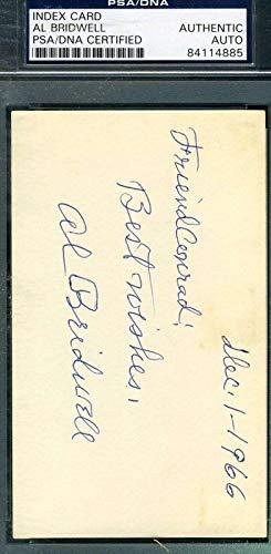 AL BRIDWELL D.69 Autograph 3x5 Signed Index Card PSA/DNA Certified MLB Cut Signatures