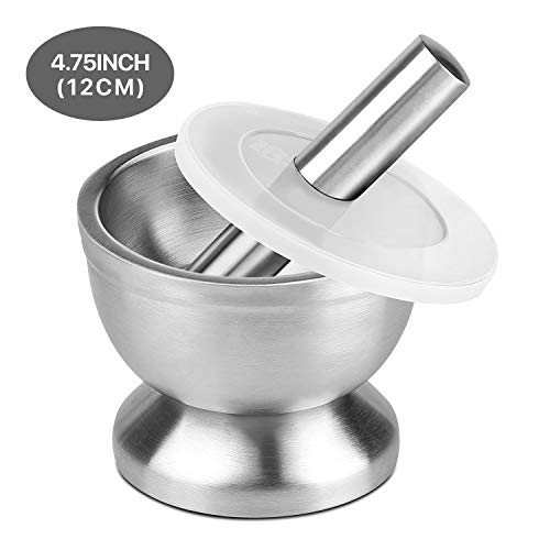 (Flexzion Brushed Stainless Steel Mortar and Pestle Set w/Lid, Anti-Slip Bottom - Solid Metal Grinder Pill Crusher Bowl Holder for Guacamole Herbs Spices Garlic/Kitchen Cooking Medicine 4-3/4 Inch)
