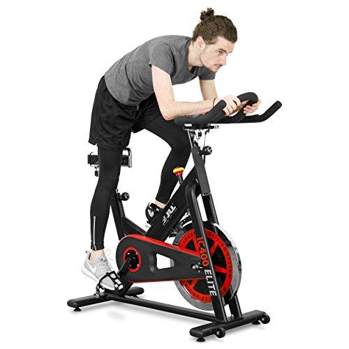 JLL IC400 ELITE Indoor Cycling Exercise Bike, Direct Belt Driven, 20kg Flywheel, Friction Resistance, Monitor, Ergonomic Handlebars, Heart Rate Sensors, Adjustable Seat, 12 Months Domestic Warranty