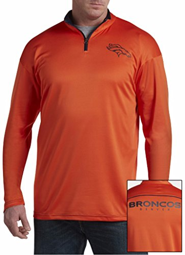 Majestic Athletic Hooded Fleece (Denver Broncos NFL Mens Majestic 2 Sided 1/4 Zip Fleece Shirt Orange Big & Tall Sizes (2XT))