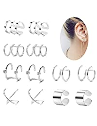 Thunaraz 6 Pairs Stainless Steel Ear Cuffs Earrings for Women Girls Non-piercing Fake Cartilage Earring