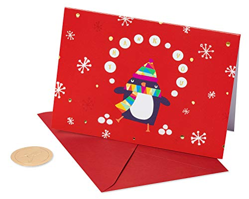 Papyrus Boxed Holiday Thank You Cards, Penguin (12-Count) (Thank You Card Snowflake)