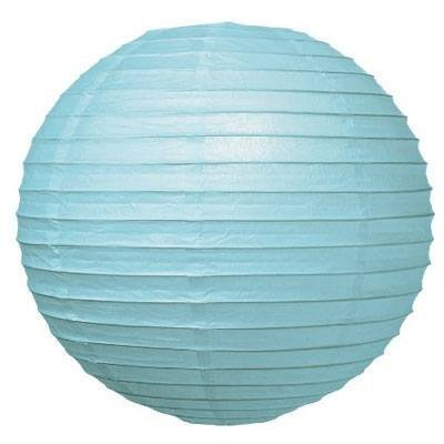 Perfectmaze 12 Piece Round Chinese Paper Lantern for Wedding Party Engagement Decoration 10 Sizes / Colors+ (20'' (Inch), Light Blue)