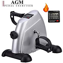 Pedal Exerciser, Under Desk Mini Exercise Bike, Arm & Leg Portable Foot Cycle Pedal Machine with LCD Screen Display(Silver)