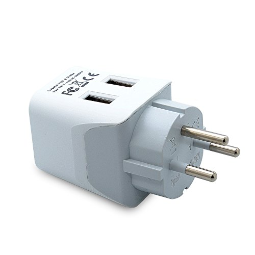 Ceptics CTU-14 USA to Israel, Palestine Travel Adapter Plug with Dual USB - Type H - Ultra Compact