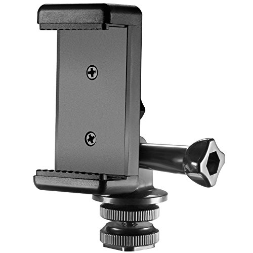Neewer 3-in-1 Hot Shoe Mount Adapter Kit - includes Hot Shoe Mount, GoPro Adapter and Universal Phone Holder for Attaching Phone or GoPro Hero 6 on DSLR