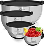Premium Stainless Steel Mixing Bowls With Non Slip Bottom and Lids (Set of 4). Sizes- 8, 5, 3, 1.5 QT. For Healthy Meal. Nesting & Stackable. Monka