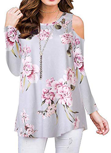 Womens Summer Cold Shoulder Shirts Casual Loose Short Sleeve Floral Printed Tunic Blouse Tops (Long Sleeve Grayish Blue, XX-Large)