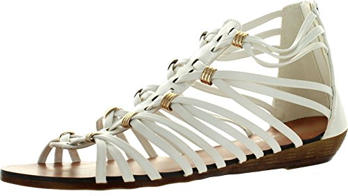 Forever Rebel-15 Womens Back Zip Strappy Gladiator Wedge Sandals
