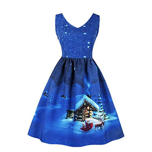 Fenxxxl Christmas Santa Claus Vintage Sleeveless Tea Dress Pleated V Neck Swing Party Dress F130-1589 DarkBlue M