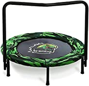 Wamkos 2021 Upgraded Dinosaur Mini Trampoline for Kids with Handle,Foldable Kids Trampoline for Play & Exe