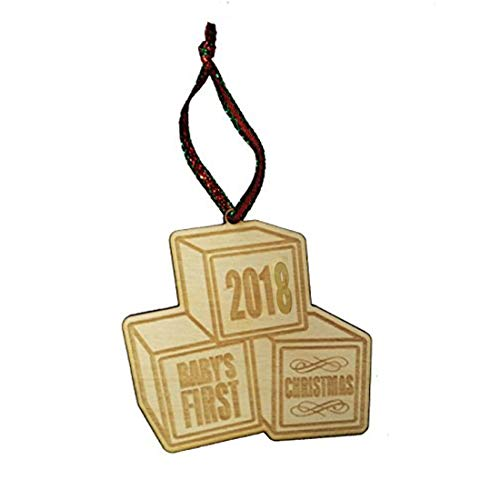 Baby's First Christmas 2018 Blocks Laser Engraved Wooden Christmas Tree Ornament Gift Seasonal Decoration