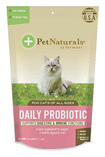 Pet Natural's of Vermont Daily Probiotic for Cats, Digestive Supplement, 30 Bite Sized Soft Chews