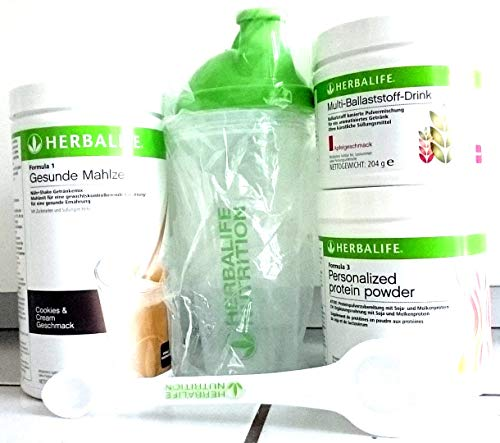 HERBALIFE COMBO FORMULA1 SHAKE MIX COOKIES WITH CREAM PROTEIN POWDER PERSONALIZED ACTIVE FIBER APPLE SHAKER CUP SPOON.