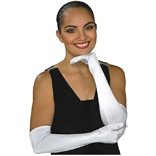 Wicked White Rabbit Adult Mask (Stretch Satin Opera Length Gloves Adult Womens Above the Elbow Costume Accessory)