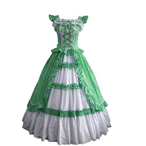 Ruffles Aufwaendige Lolita Partiss Damen Kurzarm Kleid gotische Grün qOaxzx