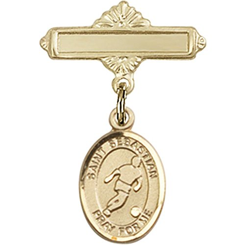 14kt Yellow Gold Baby Badge with St. Sebastian/Soccer Charm and Polished Badge Pin 1 X 5/8 inches by Bonyak Jewelry Saint Medal Collection