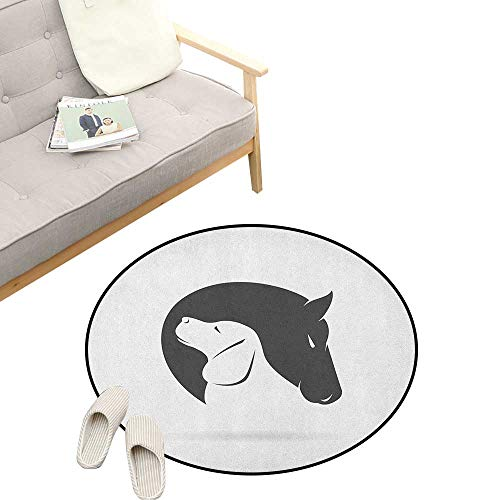 (Animal Round Rug Living RoomArt Deco ,Contemporary Image of a Dog and Horse Hugging Loyal Friend Icon Heads Artsy Print, Playroom Super Soft Carpet Floor Mat 47