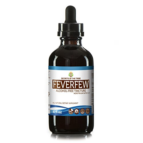 Feverfew Alcohol (Feverfew Alcohol-FREE Liquid Extract, Organic Feverfew (Tanacetum parthenium) Dried Herb Tincture Supplement (4 FL OZ))