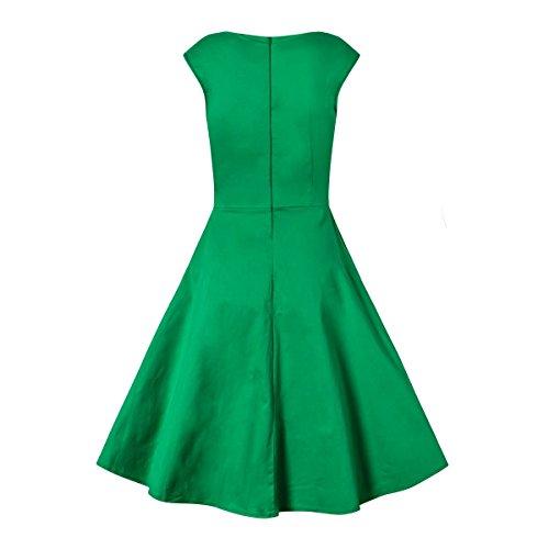 Bestfort Damen Ärmellose V-Ausschnitt Elegant Kleid 50s Retro Vintage Rockabilly Polka Dots Sommer Schwingen Knielanges Audrey Dress Grün We4ZXV41