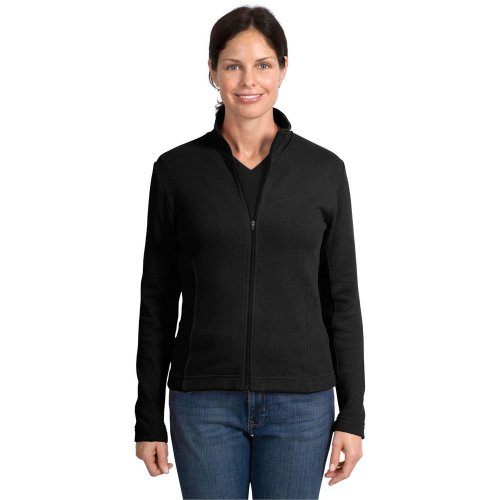 Port Authority Ladies Flatback Rib Full Zip Jacket, Black, S