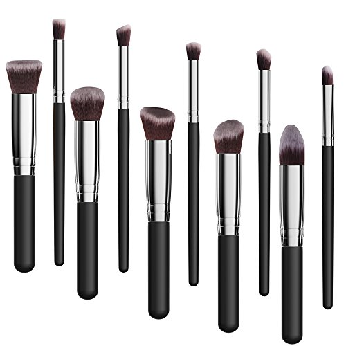 Makeup Brushes Set,Premium Synthetic Kabuki Foundation Face Powder Blush Eyeshadow Brushes Makeup Brush Kit (10pcs,Black/Silver)Alluremake