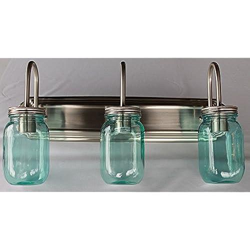 80%OFF Mason Jar Lighting, 3 light brushed nickel vanity light with blue mason jar glass