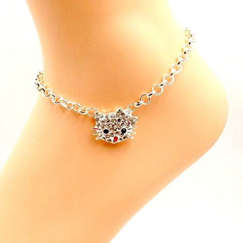 Bling Kittie Rhinestone Cat Anklet Fur-baby Silver-plate Ankle Bracelet Sizes 8-11 Pet Collection (Rhinestone Silverplate)