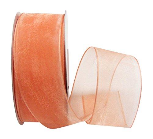 Ribbon Bazaar Wired Sheer Organza 1-1/2 inch Peach 25 Yards Ribbon from Ribbon Bazaar