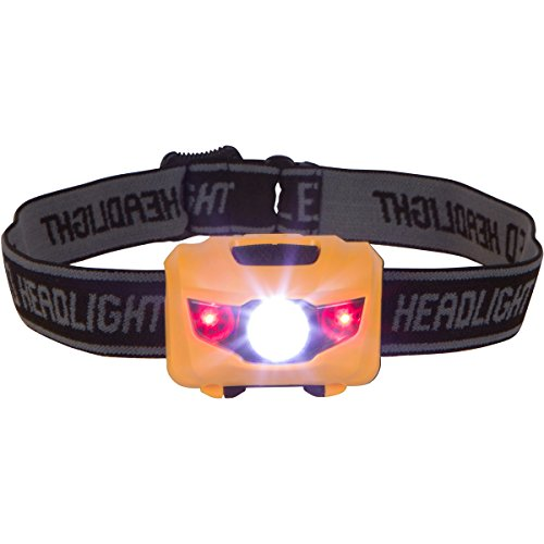 Easy to Use Super Bright LED Headlamp Great for Camping, Hiking, Dog Walking, Running and Kids. One of the Lightest (1.4 oz) Best Headlights. Water & Shock Resistant with Red Strobe
