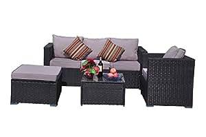 yakoe clásica Serie Outdoor 4–Piezas artlive rinconera/Asiento Grupo de muebles para jardín, Negro, 182x 65x 71cm