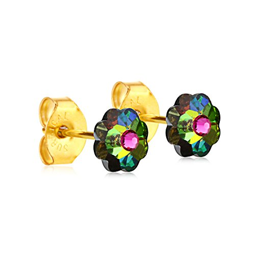 6mm Stud Earrings for Women & Girls| Swarovski Flower Crystals, 14K Gold Plated| Made With Hypoallergenic, Surgical Stainless Steel| Jewelry Gifts by Clecceli (Multicolored & Pink)
