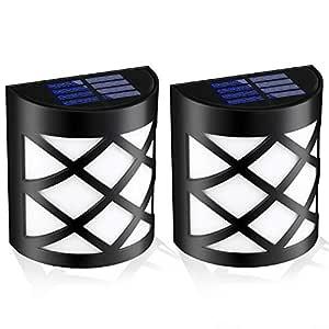 EEEKit 2-Pack Waterproof Solar Powered LED Wall Light,Night Lights for Outdoor Garden Landscape Decoration Pathway Patio Fence Deck YardLighting Decoration