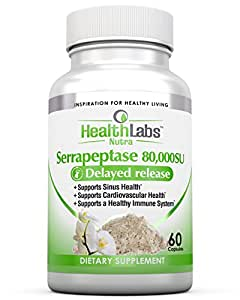 Health labs Nutra Serrapeptase Supplement for Inflammation, Sinus Issues, Asthma, Arterial Blockage, Joint Pain – 80,000 SU Maximum Potency (60 capsules) 30-Day Supply