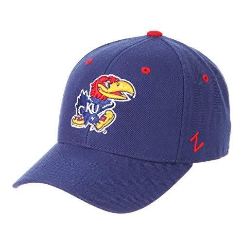 Kansas Jayhawks Ku Baseball - Zephyr University of Kansas KU Jayhawks Top Blue DHS Adult Mens Fitted Baseball Hat/Cap Size 7 1/4