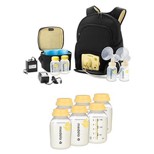 Medela Pump In Style Advanced Breast Pump Backpack with TEN Breast Milk Collection and Storage Bottles, 5 Ounce (Pump In Style Advanced Tote compare prices)
