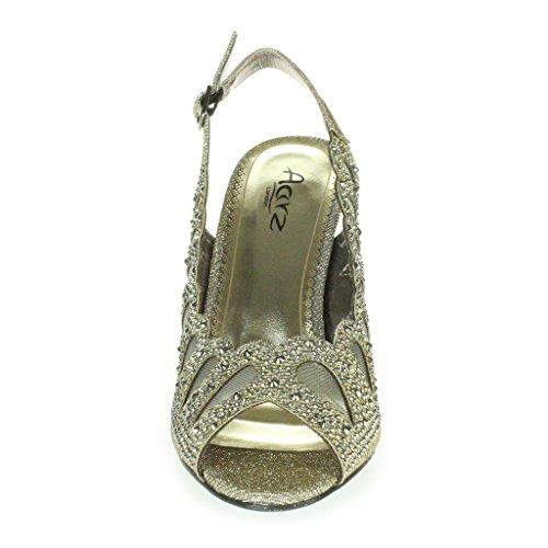 Mujer Señoras Corte con laser Diamante Peep Toe Tacón medio Noche Boda Fiesta Paseo Sandalias Zapatos Talla Estaño