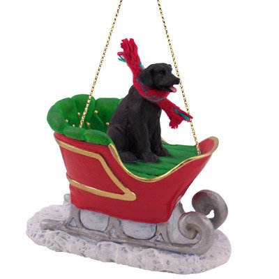 (Conversation Concepts Black Lab Sleigh Christmas Ornament for Dog)