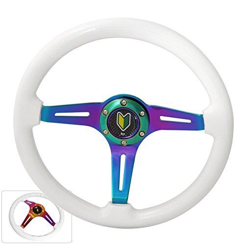 345MM 6 Bolt Hole Neo Chrome Center White Wood Trim 3 Spokes Steering Wheel Horn Button Wakaba Leaf Horn Button ()