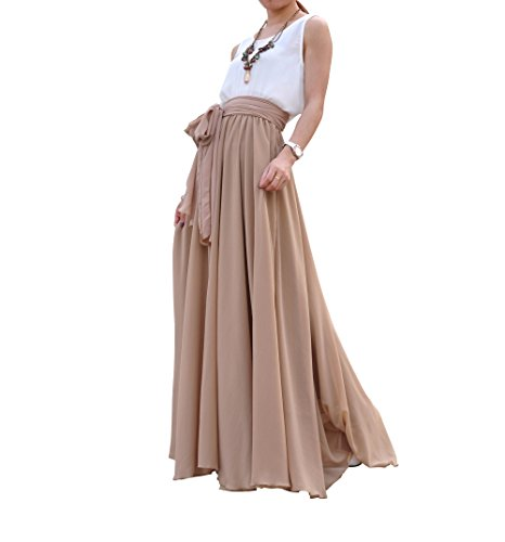 Melansay Beatiful Bow Tie Summer Beach Chiffon High Waist Maxi Skirt XXL,Khaki (Wrap Skirt)