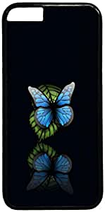 Blue Butterfly Black Background Pattern iPhone 6 Case Cover