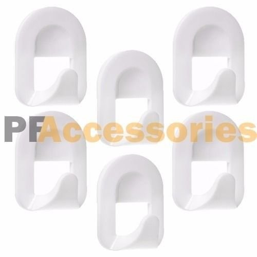 6 Pcs White Self Adhesive Plastic Square Hook Large Wall Mount Hanger Bathroom