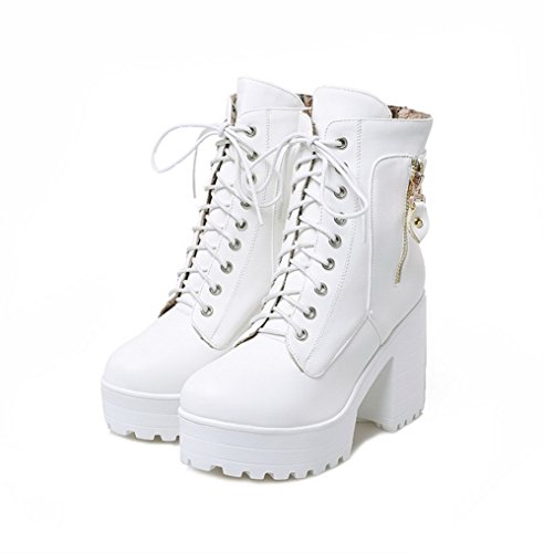 AgooLar Damen Hoher Absatz Weiches Material Niedrig-Spitze Rein Schnüren Stiefel Weiß