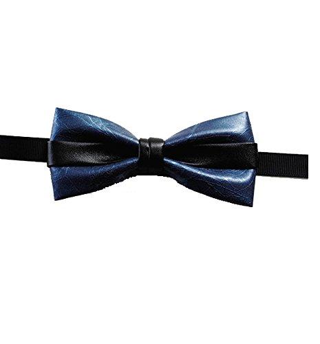 Cloud Rack Bow Tie Men'S Pu Leather Article Blue Black